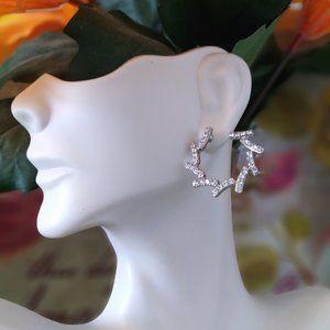 INC Silver-Tone Pavé Bypass Hoop Earrings